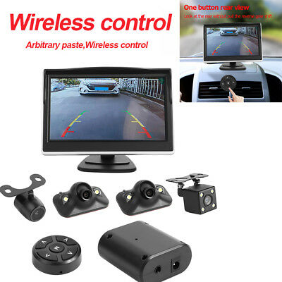 360 Degree Bird View System 4 Camera Car DVR Recording Cam w/ 5inch Monitor