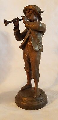 ANTIQUE SPELTER FIGURE - BOY PLAYING PIPE - signed Kessler FRANCE
