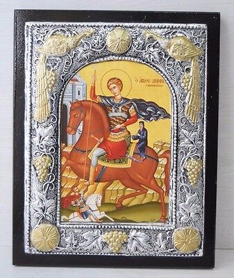 Vintage 925 Silver Plated Precise Copy of Byzantine Home Icon Saint Demetrius