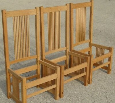 3 Mission Oak Arts & Crafts Prairie Style Spindle Chairs Quarter Sawn Unfinished