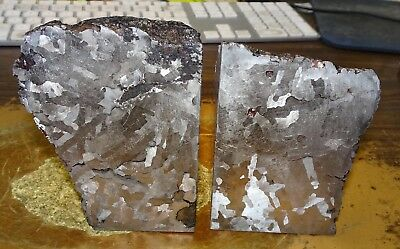 Beautiful 5016 Gm. Pair Of Etched Campo Del Cielo Meteorite Book Ends