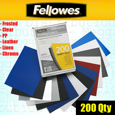 Fellowes 200 Multi Coloured Binding Covers A4 Frosted Clear Leather Chromo Linen