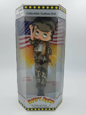 1998 Patriotic Camouflage Betty Boop Collectible Fashion Doll ~ Charity