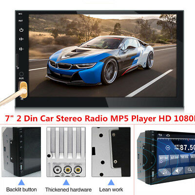7inch 2 Din Touch Screen Car Stereo MP5 Player Bluetooth FM Radio USB AUX 1080P