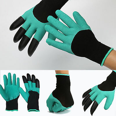 hot Garden GENIE Gloves For Digging&Planting With4 ABS Plastic Claws Gardening #