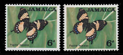 Jamaica 1964 QEII 6d Butterfly with FLAW blue omitted SG 223a mint CV £100