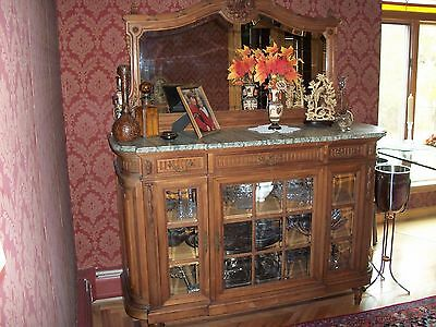 Antique SIDEBOARD Late 1800's Hand Carved Cherrywood Beveled Glass Doors/Mirror