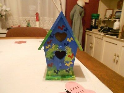8 Inch Tall Blue and Green Handpainted Wooden Birdhouse