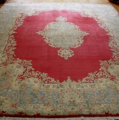 """Authentic Antique Kirman Hand-Knotted Wool Oriental Room Size Rug  8'7"""" X 12'"""