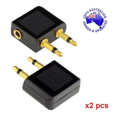 Airline Headphone Adapter 2PCS 3 pin Converter for qantas Airplane Movies Travel