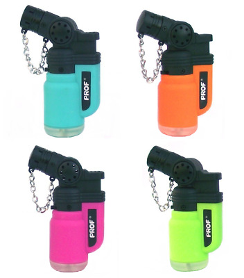 PROF Angled Jerrican Rubber Lighter Windproof Jet Blue Flame Gas Refillable X 4