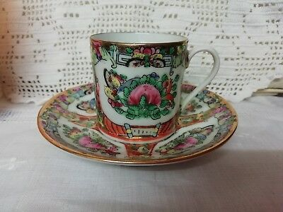 Antique Chinese Canton Cup & Saucer Enamel Famille Rose Red Character Mark