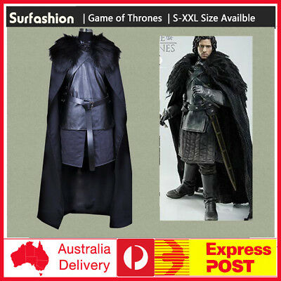 Adult Game of Thrones Jon Snow Cosplay Costume Fancy Party Men Outfit Coat Dress
