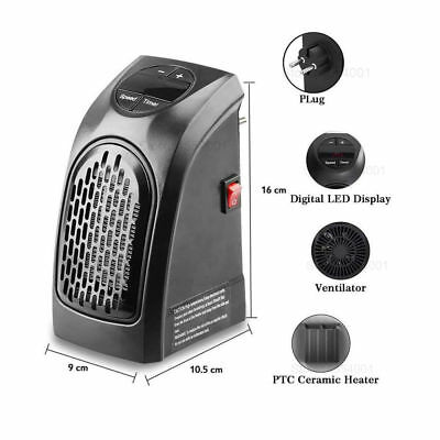 Mini Portable Heater Electric Fan Furnace UK Plug in 400W Wall Outlet Space 220V