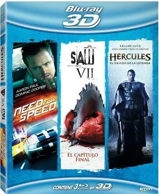 Pack: Need For Speed + Hercules + Saw VII (BD película 3D) [Blu-ray]