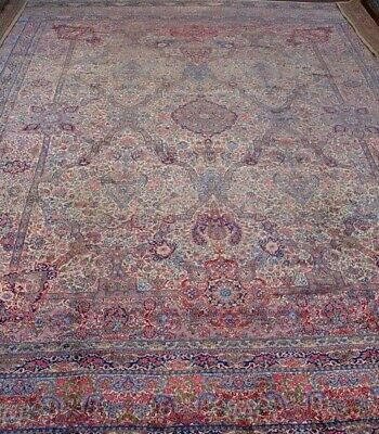 "Authentic Antique Kirman Hand-Knotted Wool Very Large Oriental Rug 12'9"" x 17'"