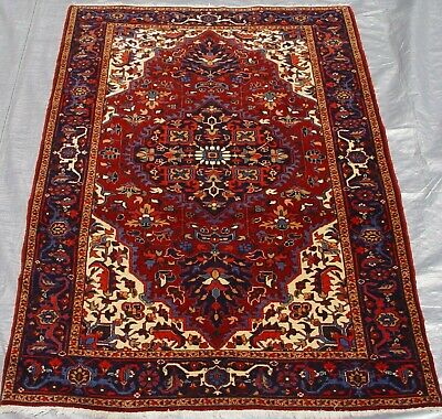 Authentic Antique Hand-Knotted Tabrizz Herizz Wool Oriental Rug 3.8 x 5.5 ft.