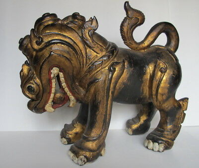 Large Antique Chinese Gilt Carved Wood Temple Lion/ Foo Dog With Pearl in Mouth