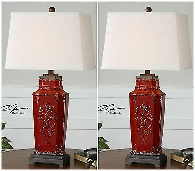 """Pair Xxl 31"""" Vintage French Embossed Aged Red Ceramic Table Lamps"""