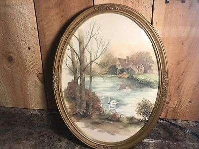 Vintage 1982 Homco Oval Glass Picture Frame ~ Swan Lake House Cottage #3280