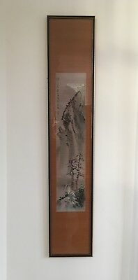 Vintage Oriental scroll with scene sketched on bamboo, framed, probably c. 1965