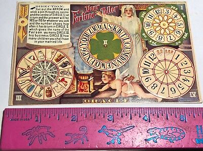 Replica Antique Fortune Teller Spinner Postcard Cut Out Arrow Spin For Fortunes