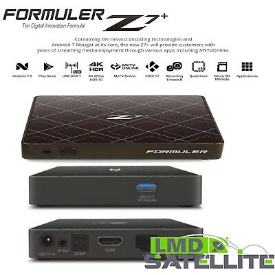NEW Formuler Z7+ Black 4K UHD IPTV WiFi Android 7.0 Dual Core