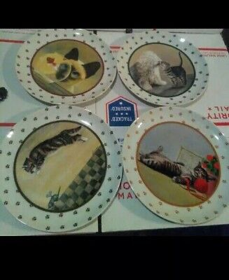 Vintage Cat Plates by Lowell Herrero Vandor Set of 4 beautiful plates