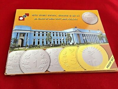 India Rs 60 & 5, PROOF COIN SET, on 60 Years of India Government Mint, Kolkata.