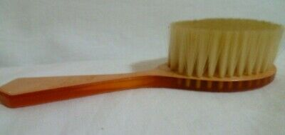 """1950's Vintage Xylonite Baby Hair Brush Soft Pink Marble Celluloid """"Baby's Own"""""""