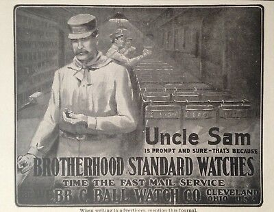 1903 Ad(H21)~Webb C. Ball Watch Co. Railroad Brotherhood Standard Watches