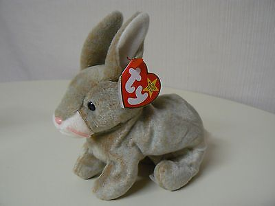 Ty Beanie Baby NIBBLY Plush Gray and Brown Rabbit with Pink Whiskers Original