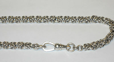 "19.5"" Vintage Sterling Silver Byzantine Necklace 34.6g Interwoven Links Jewelry"