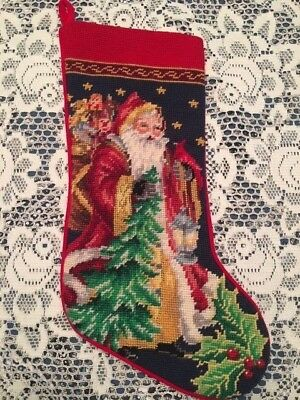 I have LOTS of stockings! Needlepoint Christmas Stocking . VINTAGE SANTA