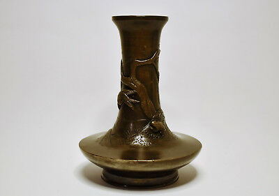 Antique Meiji Period Japanese Bronze Vase Willow Birds & Frog