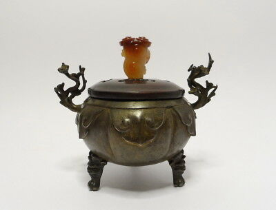 Antique Chinese Lidded Bronze Tripod Incense Burner with Carved Carnelian Finial