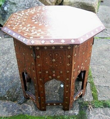 Outstanding  Antique Octagonal Folding  Anglo/Indian  Inlaid Side Table