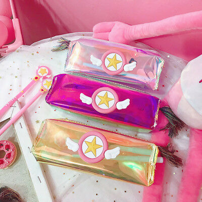 Anime Cardcaptor Sakura Holographic Laser Make Up Cosmetic Bag Pencil Case New