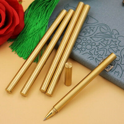 Pure Brass Ball Retro Pens Handmade EDC Japan Style Refillable Gel Pen With Bags