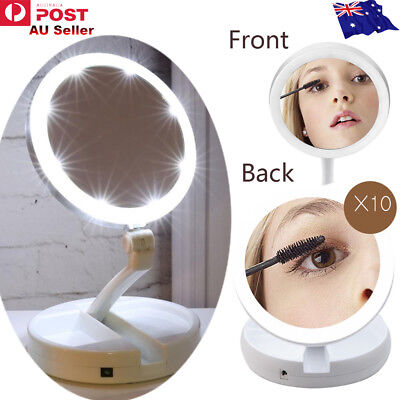 Portable Folding Makeup Mirror 1x/10x Magnifying Double Side Dimmable 21 LED NEW