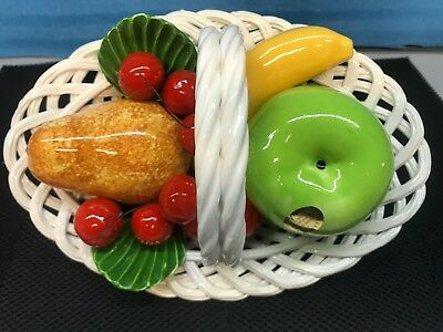 Vintage DI Bassano Hand Painted Fruit Basket Centerpiece. Made In Italy. New (2)