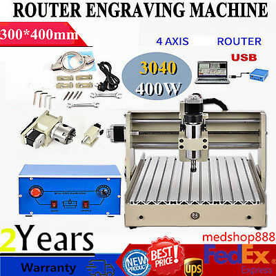 4 Axis USB 3040T Router Engraver 3D Engraving Machine Wood Desktop Cutting 400W