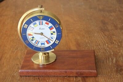 Vintage Boston Chelsea Brass Quartz Clock Nautical Flags Bezel Desktop Desk Ship