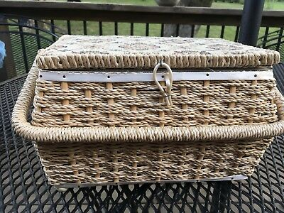 """Sewing Notions Basket Woven Straw Tapestry Lid 11""""x7.5""""x7"""""""