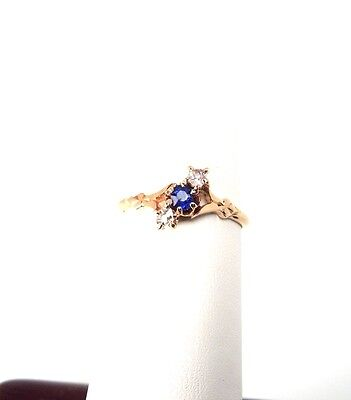 Antique Victorian 14k YG 3 Stone Diamond Old Miner Sapphire Ring * Sz 5 Gift Box