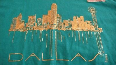 Vtg./New  DALLAS TEXAS XL GREEN T-SHIRT MADE IN USA