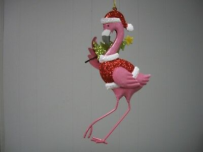 Pink Flamingo in Red Santa Hat and Coat Carrying XMas Tree Metal Ornament NWT