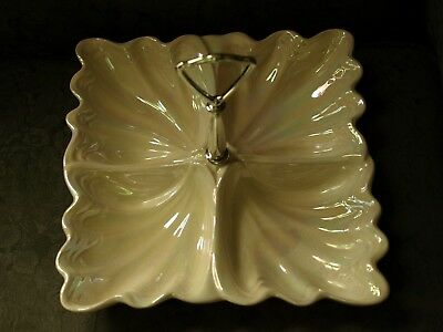 Vintage Maddux of California Opalescent Divided Dish w/Center Handle-950