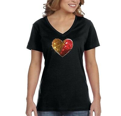 a869bf7ce Womens Gold Red Heart Valentine's Reversible Flip Gift Sequin V-Neck T-Shirt