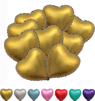 18'' Metallic Heart Shaped Matt Foil Balloon Wedding Birthday Proposal Decor 10x